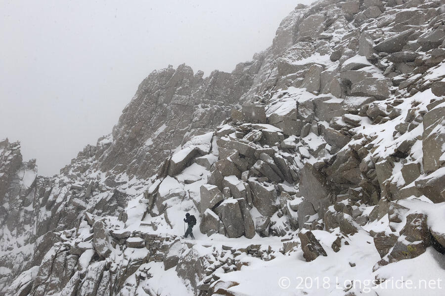 Snow Falling on Mount Whitney