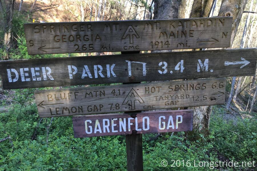 Sign at Garenflo Gap